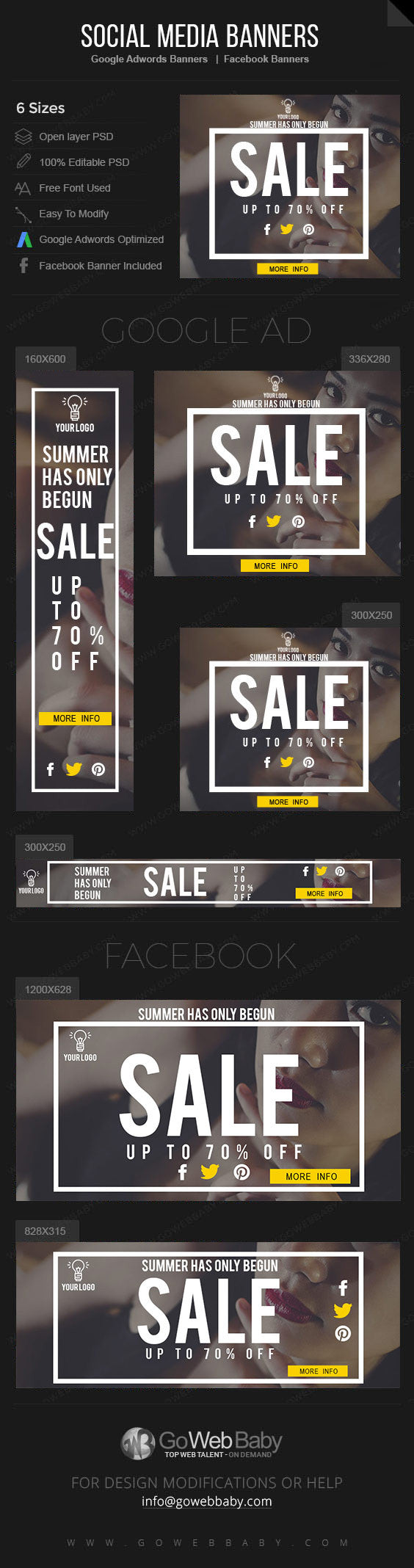 Google Adwords Display Banner with Facebook banners - Summer Sale for  Website Marketing - GoWebBaby.Com