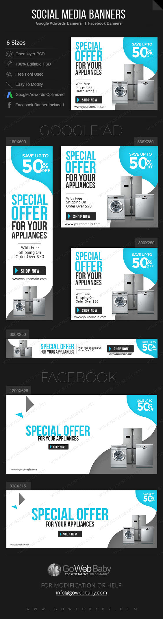 Google Adwords Display Banner with Facebook banners - Appliances Store for Website Marketing - GoWebBaby.Com