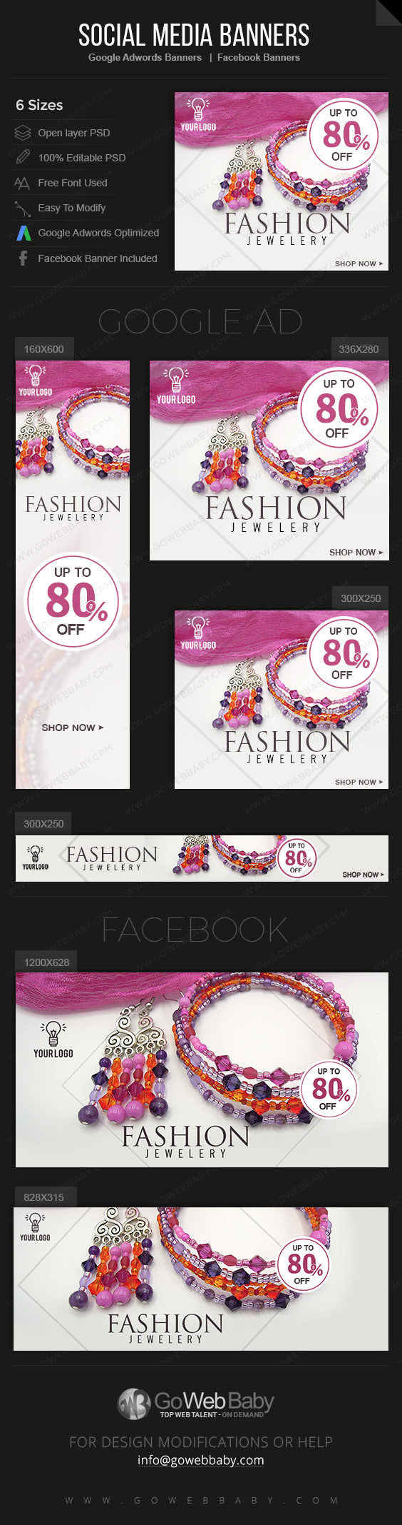 Google Adwords Display Banner with Facebook banners Jewelry For Website Marketing - GoWebBaby.Com