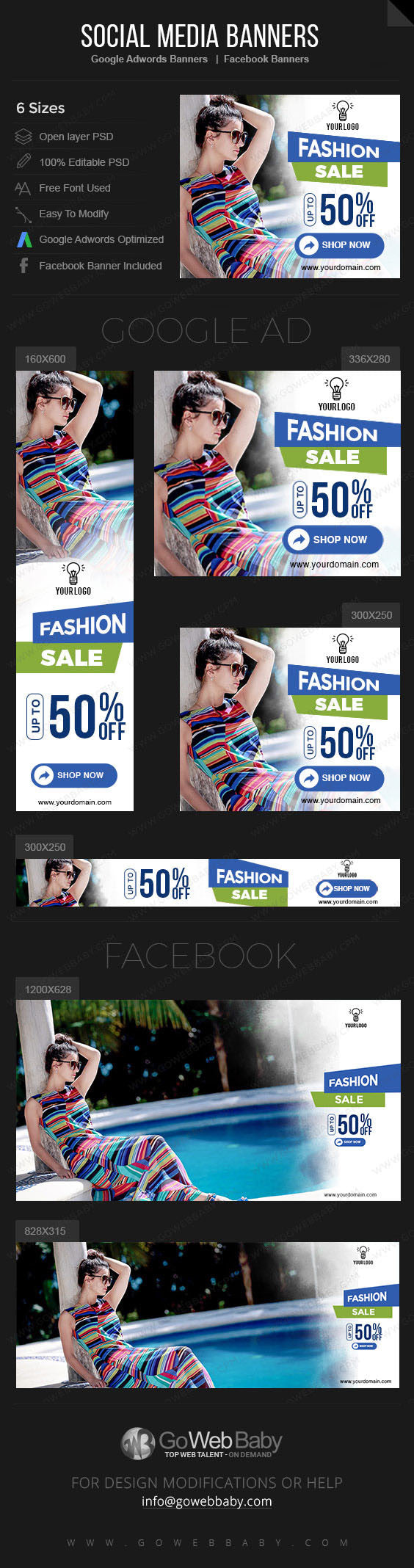 Google Adwords Display Banner with Facebook banners -Fashion Store for Website Marketing - GoWebBaby.Com