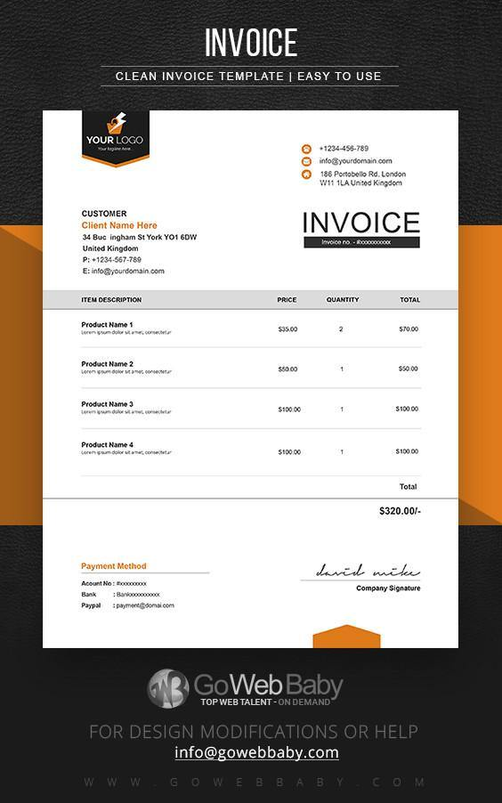 Business Invoice Templates For Website Marketing - GoWebBaby.Com