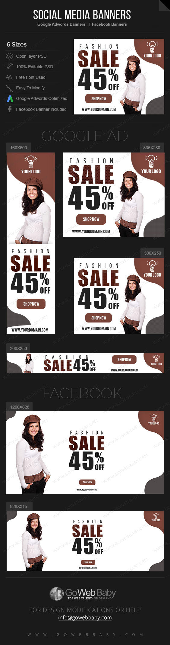 Google Adwords Display Banner with Facebook banners -Sale  Website Marketing - GoWebBaby.Com