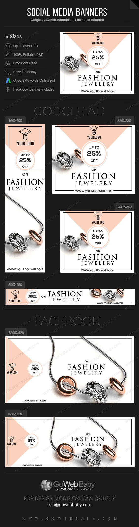 Google Adwords Display Banner with Facebook banners - Fashion Jewelry for Website Marketing - GoWebBaby.Com