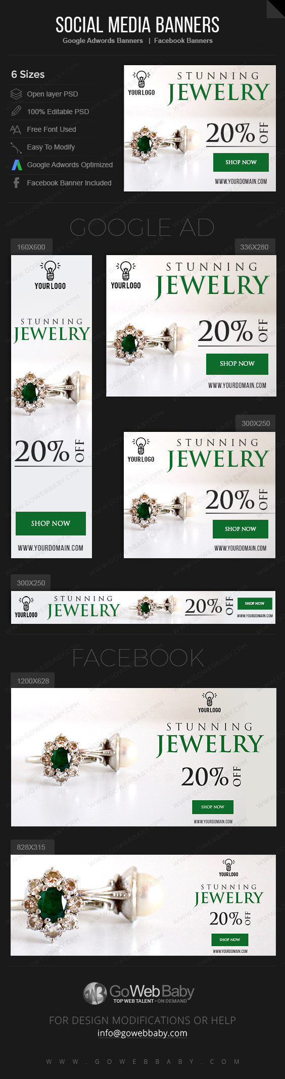 Google Adwords Display Banner with Facebook banners -Stunning Jewelry Store Website Marketing - GoWebBaby.Com