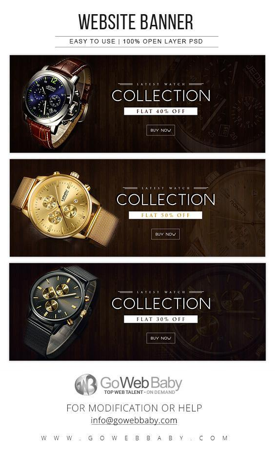 Website Banners - Premium Men's Watches For Website Marketing - GoWebBaby.Com