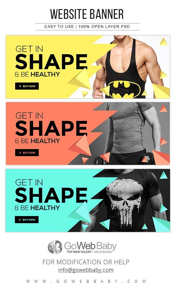 Website Banner - Fitness Lifestyle For Website Marketing - GoWebBaby.Com