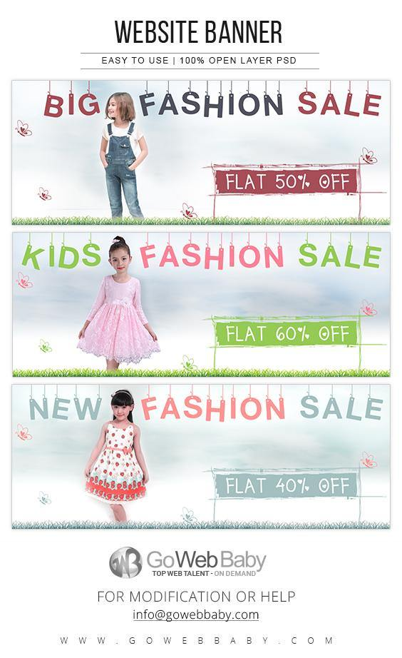 Website Banners - Kids Fashion For Website Marketing - GoWebBaby.Com