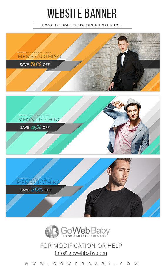 Website Banners - Men's Clothing Store For Website Marketing - GoWebBaby.Com