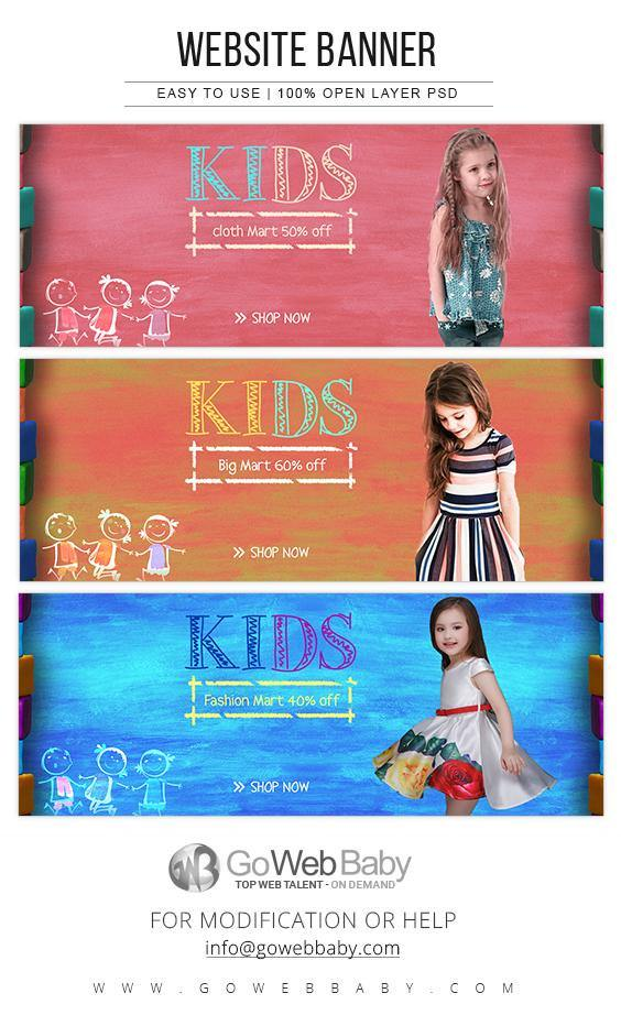 Website Banners For Website Marketing - Kids Fashion For Girls - GoWebBaby.Com