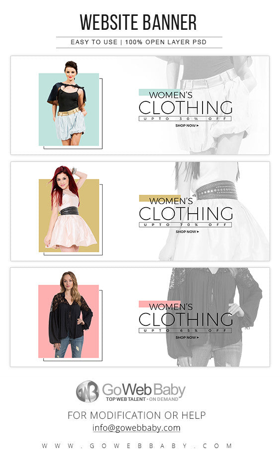 Website Banners - Women's Clothing Store For Website Marketing - GoWebBaby.Com