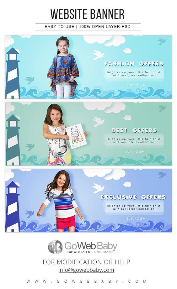 Website Banners For Website Marketing - Fashion For Kids - GoWebBaby.Com