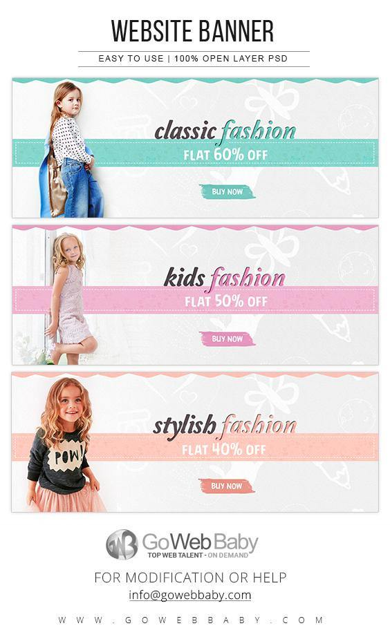 Website Banners For Website Marketing - Kids Classic Fashion