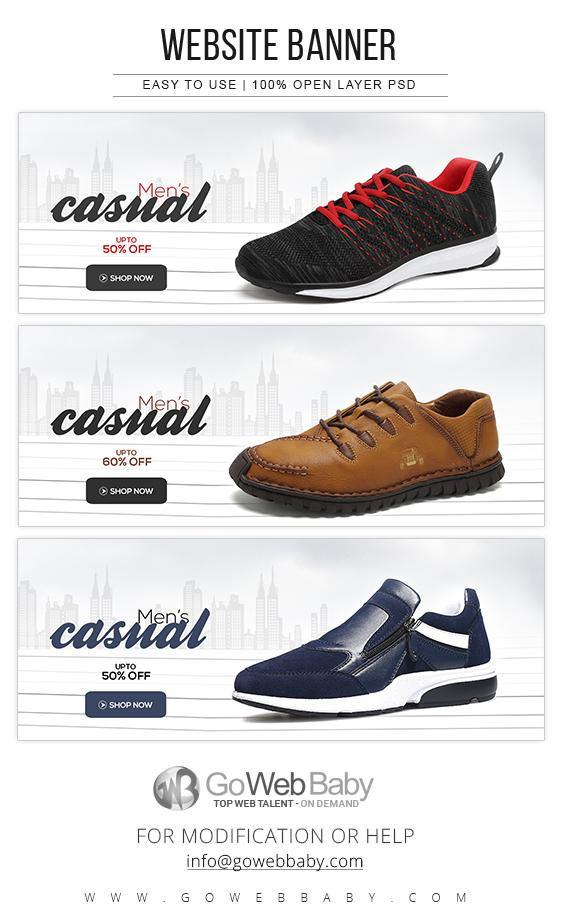 Website Banners - Casual Footwear Collection For Website Marketing