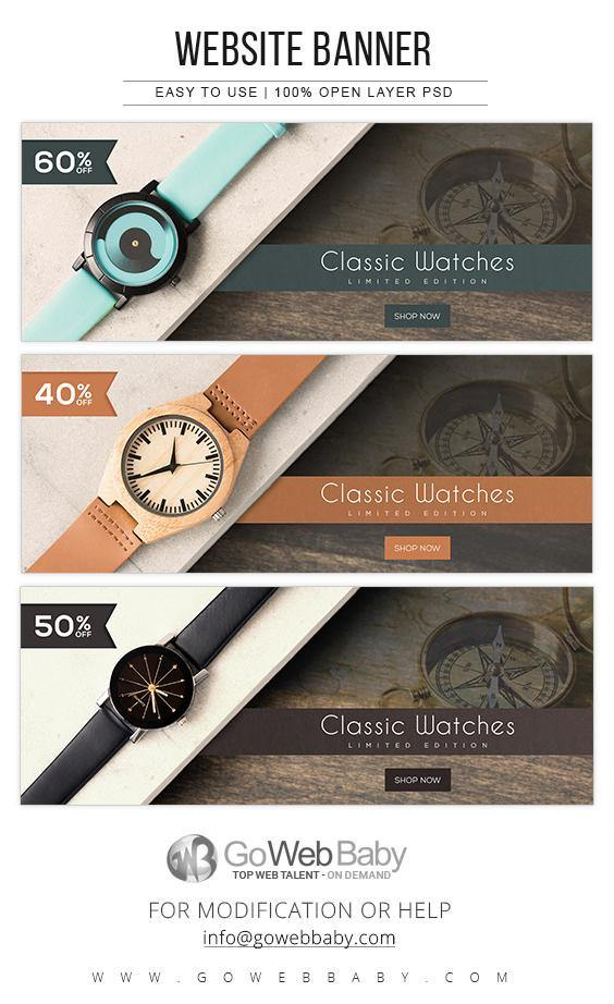 Website Banners - Classic Watches For Website Marketing - GoWebBaby.Com