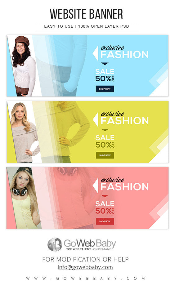 Website Banners - Exclusive fashion for women's - GoWebBaby.Com