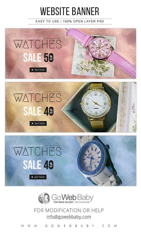 Website Banners - Exclusive Women's Watches For Website Marketing - GoWebBaby.Com