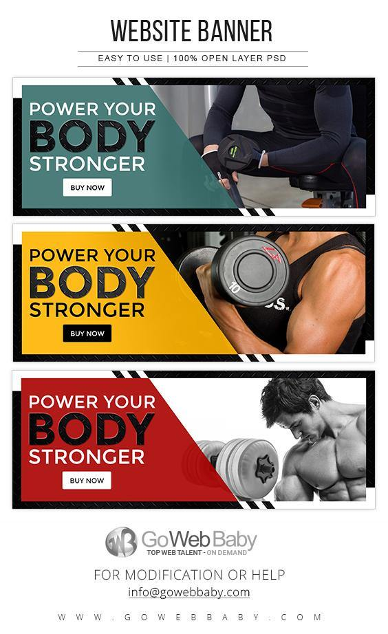 Website Banner - Gym and Fitness For Website Marketing - GoWebBaby.Com