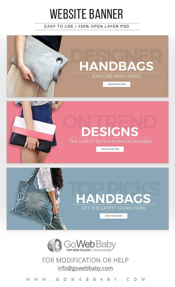 Website Banners -Stylish Handbags For Website Marketing - GoWebBaby.Com