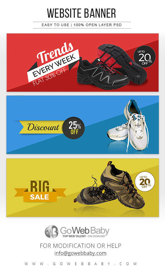 Website Banners - Men's Shoes Collection For Website Marketing - GoWebBaby.Com