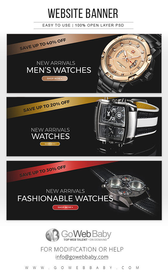 Website Banners - Men's Watches Collection For Website Marketing - GoWebBaby.Com
