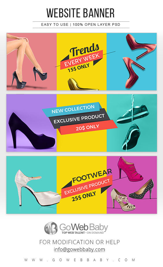 Website Banners - Women's Footwear For Website Marketing - GoWebBaby.Com