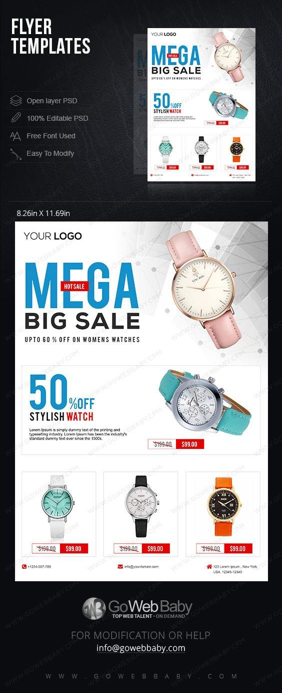 Flyer templates - Women's Watches For Website Marketing