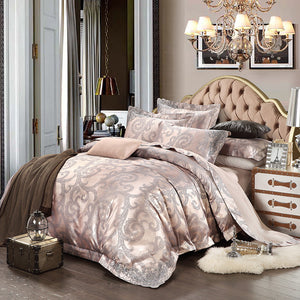 Luxurious Ivory Pink Silk Satin Bedding Set