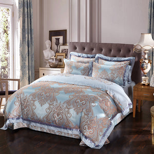 Luxurious Duck Egg Silk Satin Bedding Set
