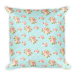 Shabby Chic Blue and Rose Pillow