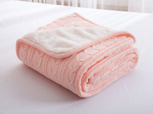 Candy Pink Knitted Wool Bedspread