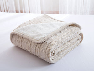 Cream Knitted Wool Bedspread
