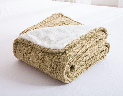 Wheat Beige Knitted Wool Bedspread