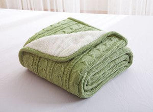 Pastel Olive Green Knitted Wool Bedspread