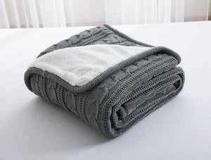 Slate Grey Knitted Wool Bedspread