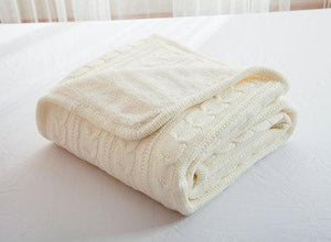 Ivory White Knitted Wool Bedspread