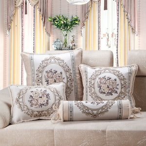 Luxury Jacquard Beige Sofa Cushion Covers