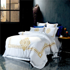 Athens White and Gold Embroidered Luxury Bedding Set Image