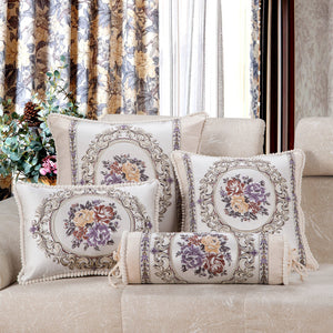 Luxury Jacquard Purple Cream Sofa Cushion Covers