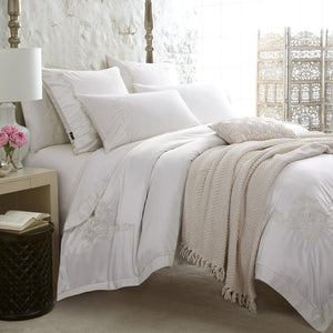 Shabby Chic Bedding Set in White Luxury Silk Cotton