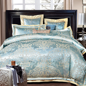 Nordic Duck Egg Jacquard Luxury Bedding Set
