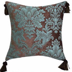 Duck Egg and Chocolate Luxury Jacquard Pillow