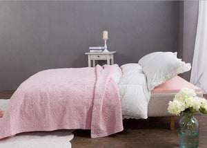 Pastel Pink Stone Wash Quilted Matelasse Bedspread
