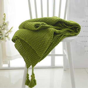 Olive Green Crocheted Knitted Cover Blanket