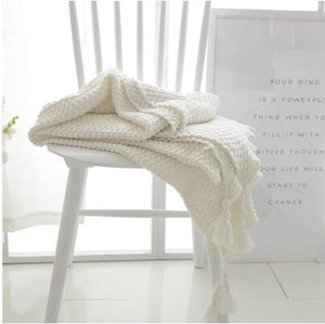 Ivory White Crocheted Knitted Cover Blanket