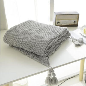Ash Grey Crocheted Knitted Cover Blanket