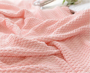 Candy Pink Crocheted Knitted Cover Blanket