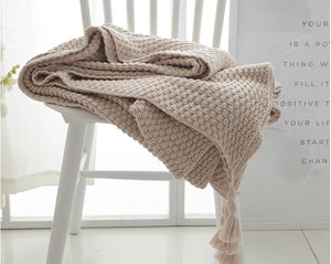Beige Crocheted Knitted Cover Blanket