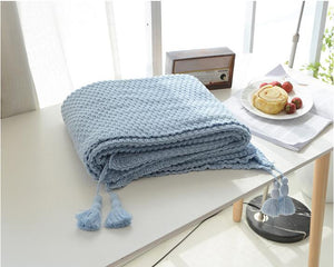 Duck Egg Blue Crocheted Knitted Cover Blanket