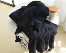 Black Crocheted Knitted Cover Blanket