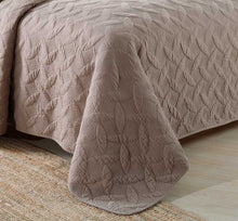 Chocolate Brown Embroidered Matelasse Quilted Bedding Set